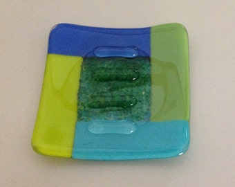 Fused Glass Soap Dish Shades of Green and Blue