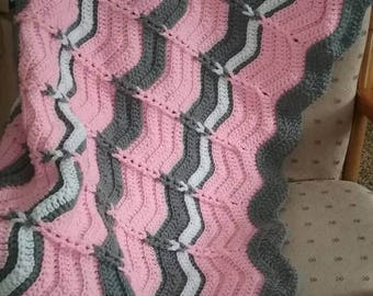 Crochet PATTERN Chevron Blanket crochet pattern Easy USA terms, Crochet Cable Loop Chevron Afghan Blanket, Ripple baby blanket, PDF