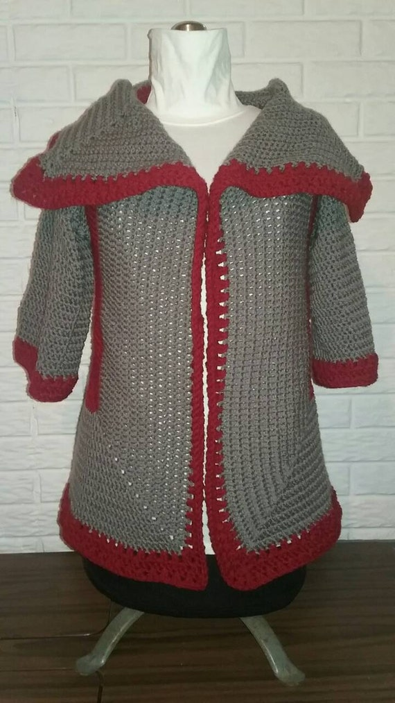 Pentagon Crochet Sweater Pattern Two Ways Wear Cardigan Etsy