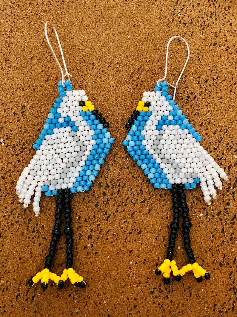 Snowy Egret Bird Dangle Earrings