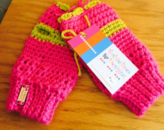 Hot Pink Fingerless Mittens with Lime Trim—FREE Shipping