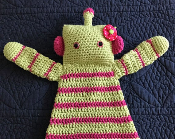 Lime and Hot Pink Rosie the Robot Rag Doll Toy/Lovey