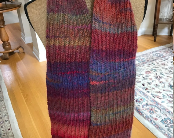 Hand Knit Long Scarf –AURORA Amazing Yarn—FREE Shipping