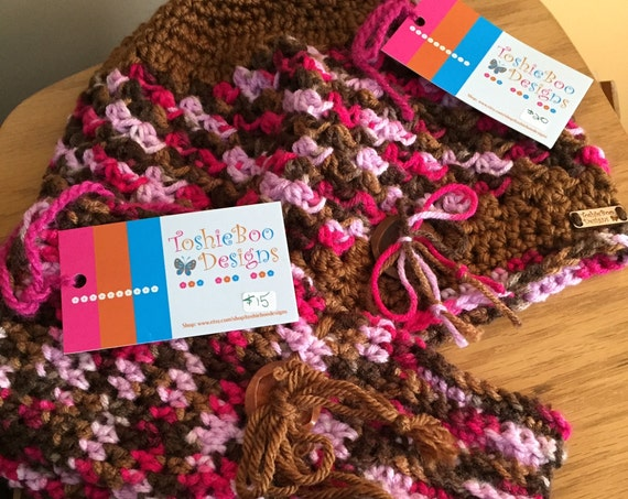 Pink variegated and soft brown hat and mitten set with wooden buttons FREE SHIPPING