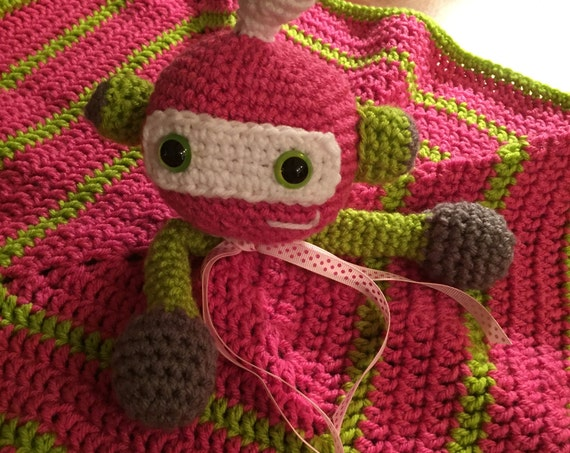 Hot Pink and Lime Robot/Alien Blanket Lovey—FREE Shipping