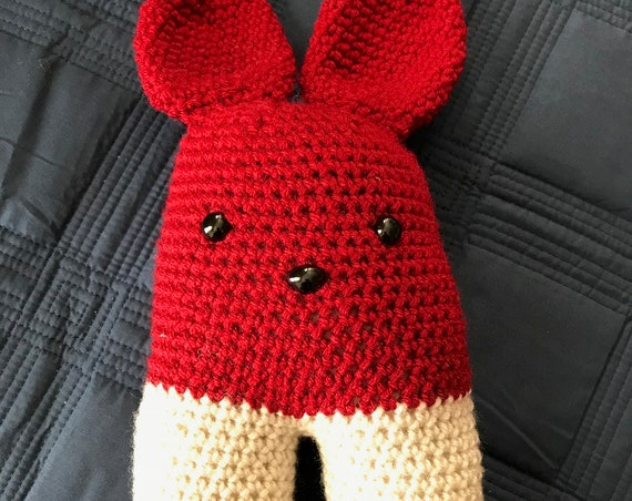 Cream and Crimson Two-legged Bunny Rabbit  Stuffed Amigurumi Toy—FREE Shipping