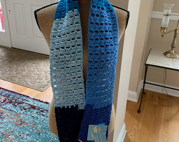 Blueberry worsted/wool blend open weave scarf. FREE SHIPPING!