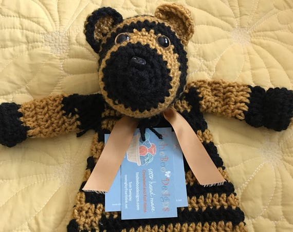 Black and Gold Striped Baby Bear Rag Doll Toy/Lovey