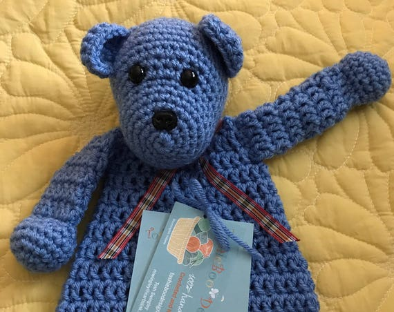 Blue Mini Bear Rag Doll Toy/Lovey—FREE Shipping