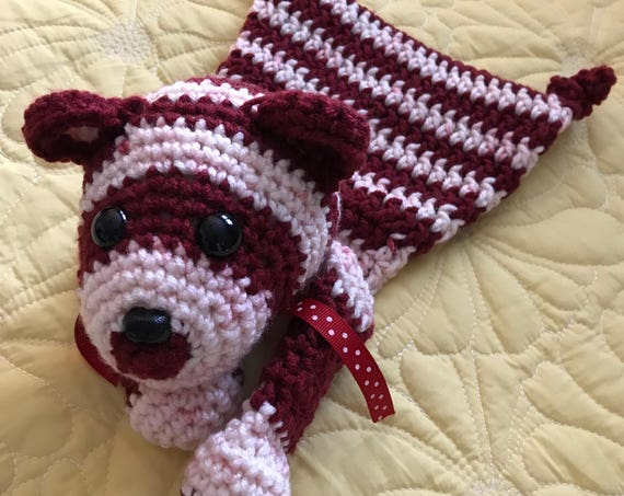 Red and White Striped Baby Bear Rag Doll Toy/Lovey—FREE Shipping