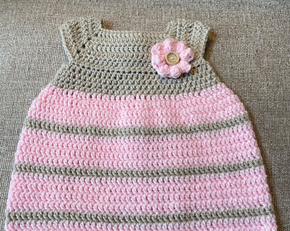 Baby Girl's Beautiful Crocheted Soft Pink and Sage 6-month-old Dress. FREE SHIPPING