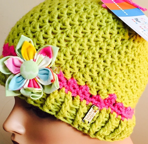 Lime Hat with Hot Pink trim and colorful fabric button clip—FREE Shipping