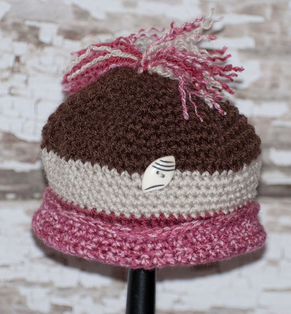 Roll Brim Hat  In Pinks and Browns with Bone Button and Top Knot FREE SHIPPING