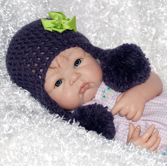 Purple/Plum Pom Pom Hat with Lime Bow Clip FREE SHIPPING