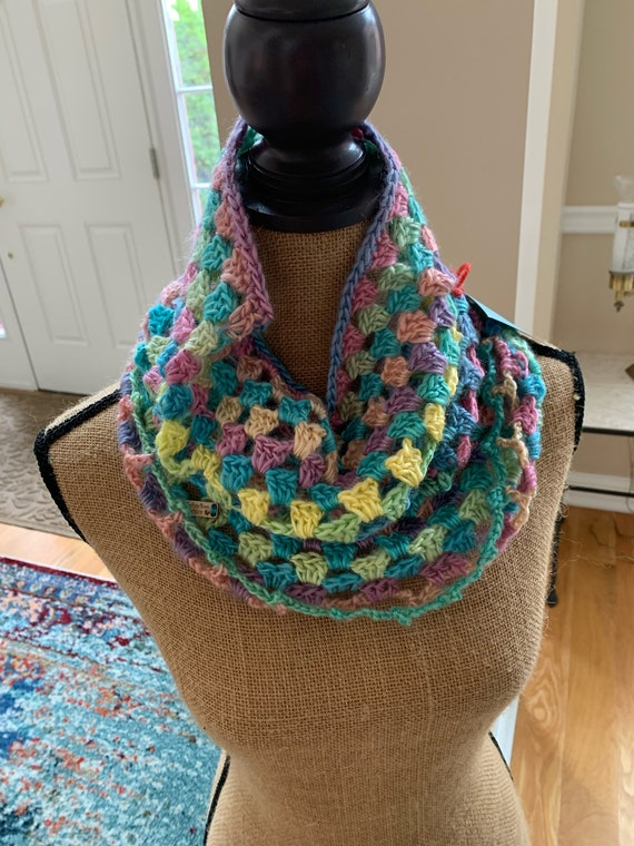 Beautiful, lightweight pastel cowl with shell stitch, longer in length. FREE SHIPPING.