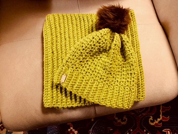 Celery Green and Brown Faux Fur Pom Pom Hat and Cowl. FREE SHIPPING!