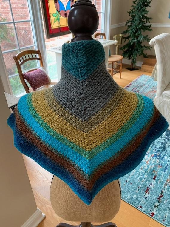 Mandala yarn Shawl/Scarf that can be worn in the front or the back. FREE SHIPPING
