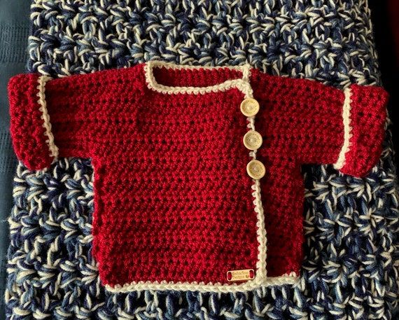 Cream and Crimson 0-6 month Baby Wrap Sweater. FREE SHIPPING