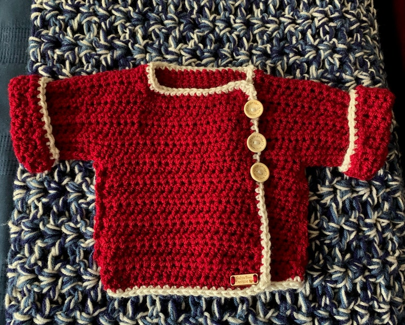 FREE SHIPPING Cream and Crimson 0-6 month Baby Wrap Sweater