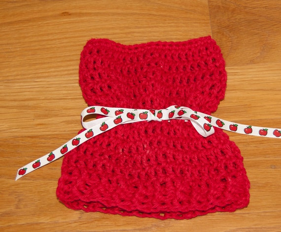 Sack, Sleeve, Bag Hat with Red Cotton Yarn with Apple Ribbon & FREE SHIPPING