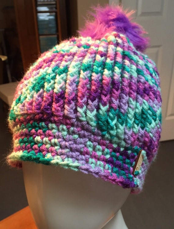 Purples/Lavender/Teal/Mint Ribbed Hat with Purple Faux Fur Pom Pom—FREE Shipping