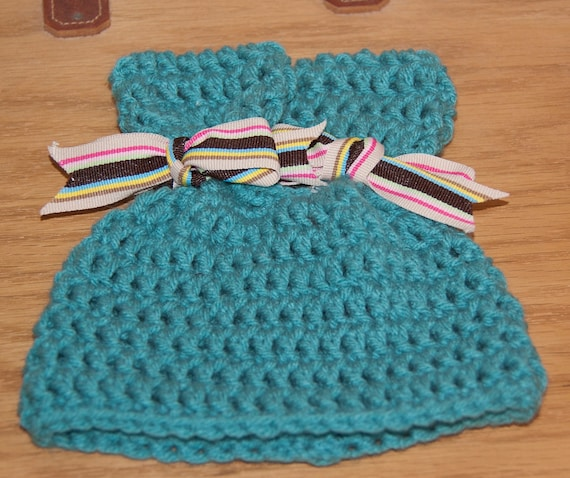 Ears Hat in Aqua Turquoise Worsted Yarn with Striped Gross Grain Ribbon & FREE SHIPPING