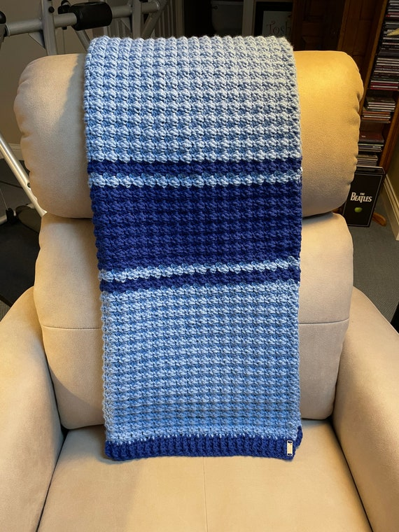 Medium and Cobalt Blue Thick Soft Worsted Crocheted Baby Blanket with Sedge Stitch. FREE SHIPPING.