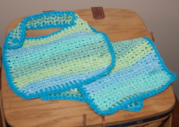 Bib and Burp Pad in Soft Green, Aqua, and Blue Striped Cotton Yarn FREE SHIPPING