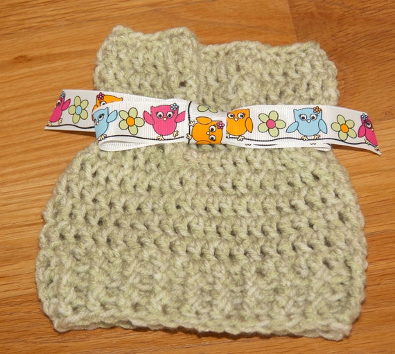 Sack, Sleeve, Bag Hat with Seafoam Green Worsted Yarn with Colorful Owls Ribbon & FREE SHIPPING