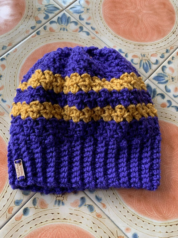 Gold/Mustard and P:urple/Eggplant Striped Messy Bun/Ponytail Hat. FREE SHIPPING.