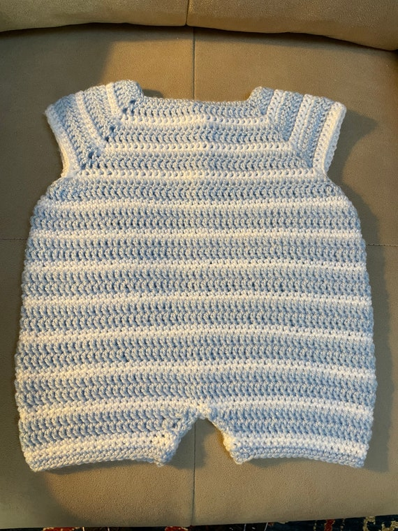 Baby Boy's Romper in striped baby blue and white lightweight yarn with a wooden button. FREE SHIPPING