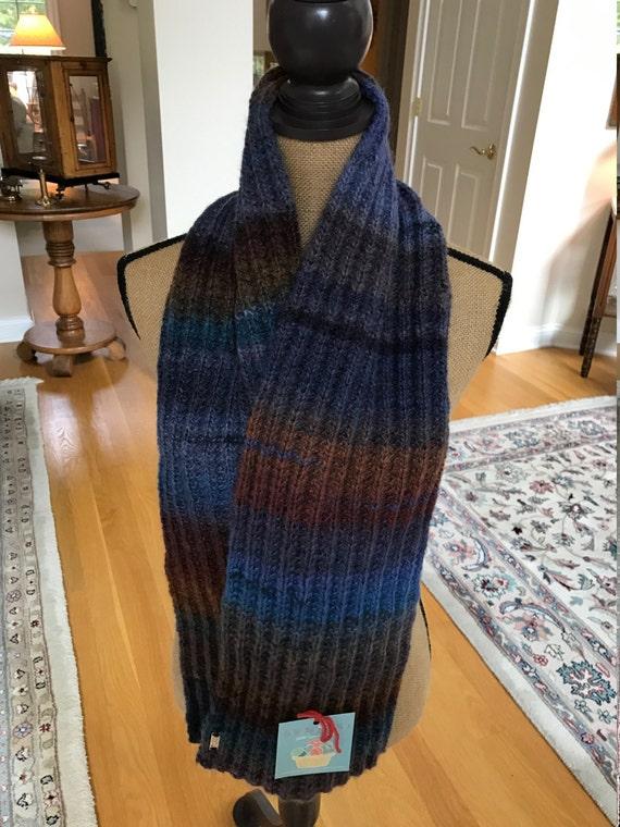 Hand Knit Long Scarf –GLACIER BAY #3 Amazing Yarn