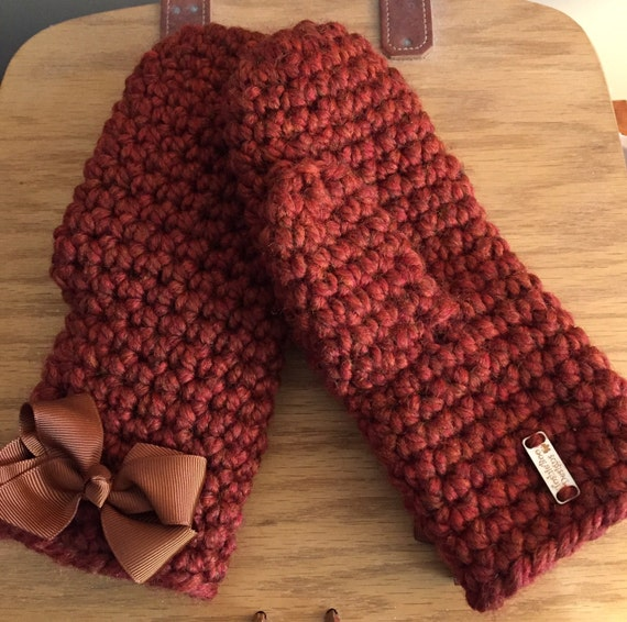 Thick, Full Chunky Mittens with Detachable Bows...Spice-Burnt Orange-Rust with Brown Bows