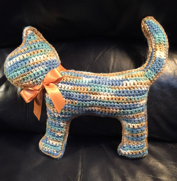 "Blue, Aqua, Tan and Cream ""Flat"" Cat Pillow/Toy—FREE Shipping"
