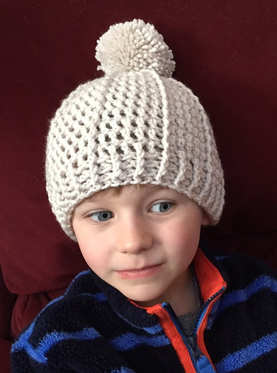 Child's Linen Pom Hat/Cap with a Ribbed Band. FREE SHIPPING!