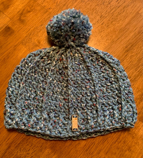 Denim Blue Tweed Hat/Cap with unique stitch and Pom pom for Youth. FREE SHIPPING