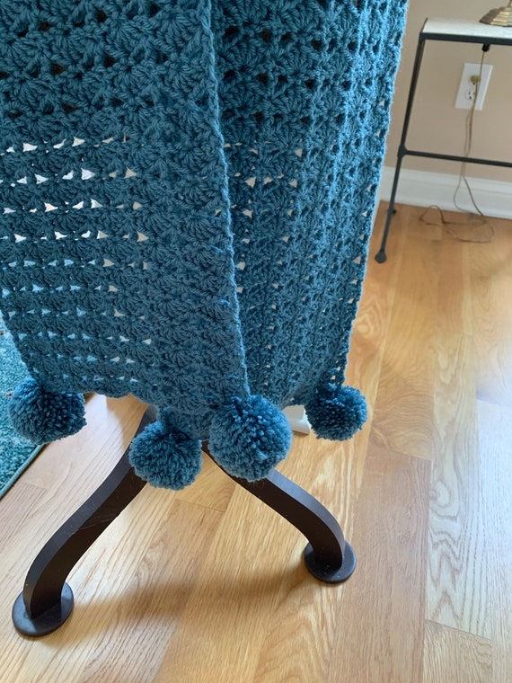 Medium teal pom pom shawl/scarf with beautiful stitch. FREE SHIPPING.