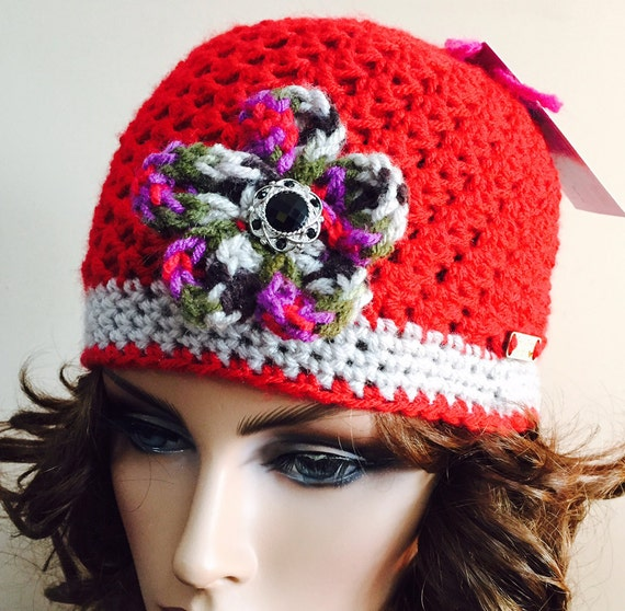 Bright Red Hat with Linen trim and crocheted variegated flower with black bling