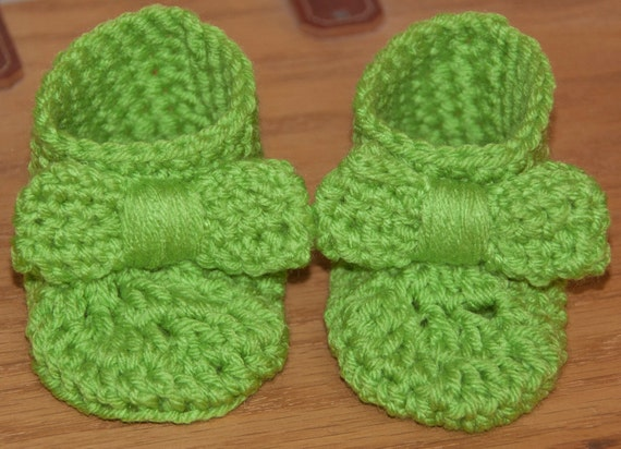 Bow Booties in Bright Lime Green FREE SHIPPING