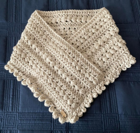 Linen Crocheted Seed and Pom Pom scarf cowl that is very unusual AND warm. FREE SHIPPING.