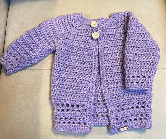 Lavender Fancy, Longer, Baby Sweater/Cardigan size 3-6 months+—FREE SHIPPING.