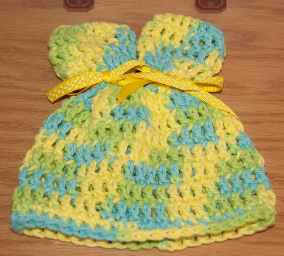 Ears Hat with Yellow, Lime and Aqua Cotton Yarn with Yellow Polka Dot Ribbon & FREE SHIPPING
