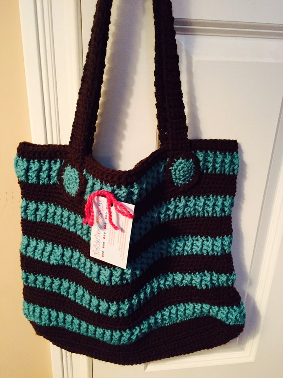 Beautiful Aqua and Brown Striped Shoulder Bag Tote in Soft Worsted with Unique Stitching and Crocheted Buttons