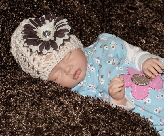 Cream Open Weave Cotton Scallop Cap with Brown Silk Flower FREE SHIPPING