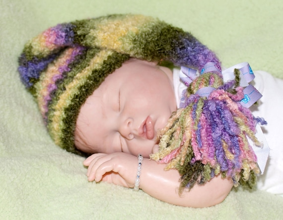 "Bulky Multi-color ""Sleep Hat"" with Bow Accents FREE SHIPPING"