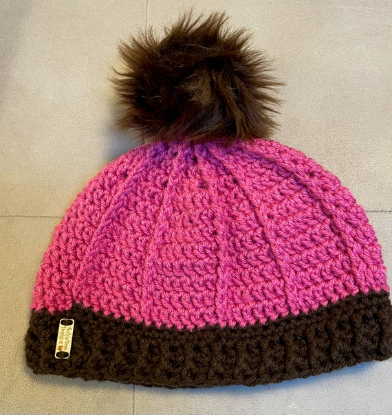 Hot Pink and Chocolate Pom Pom Hat. FREE SHIPPING.
