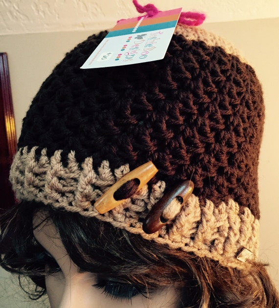 SALE Brown and tan hat with light and dark toggle buttons