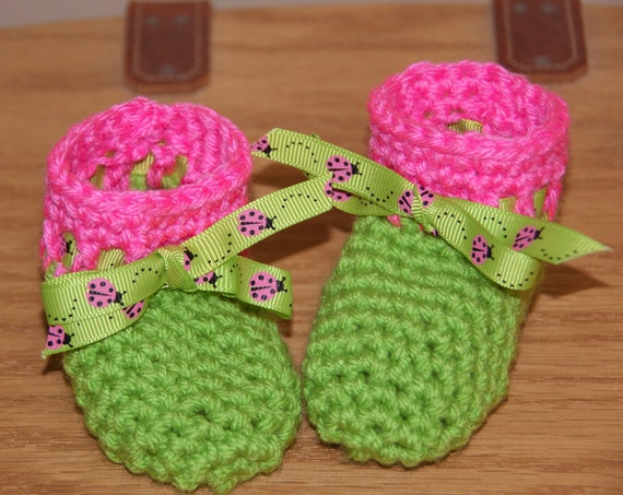 Lime Green and Hot Pink Boot Booties with Lady Bug Ribbon Accents FREE SHIPPING