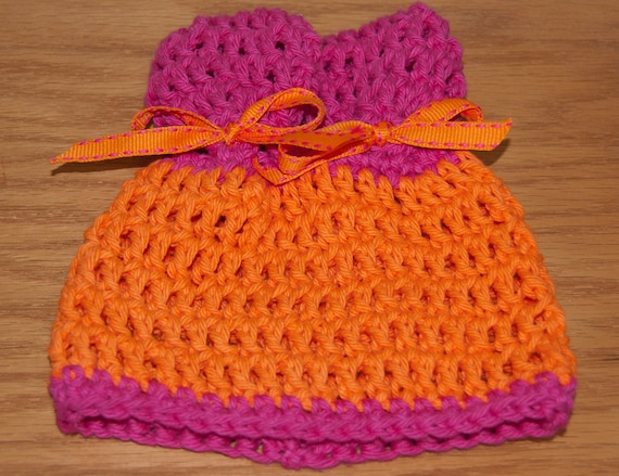 Ears Hat in bright Orange and Hot Pink Cotton Yarn with Matching Ribbon & FREE SHIPPING