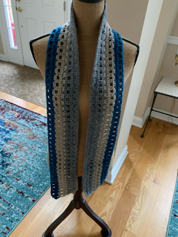 Textured unisex scarf in demin blue, linen suede, and medium grey stripes. FREE SHIPPING.